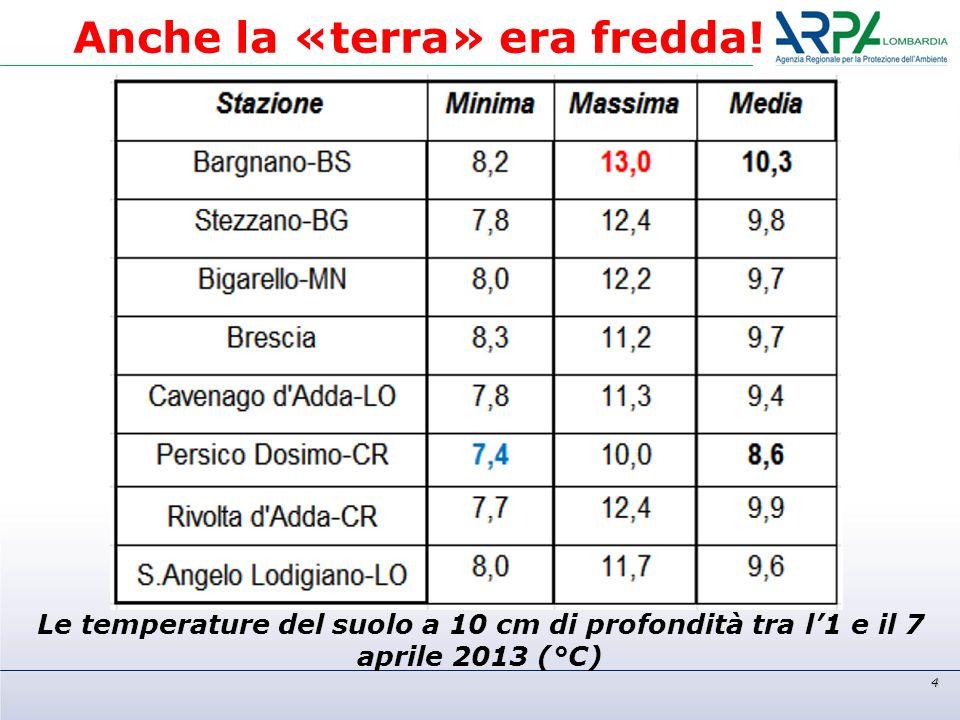 Le temperature del suolo a 10 cm di profondità tra l1 e il 7 aprile 2013 (°C) 4 Anche la «terra» era fredda!