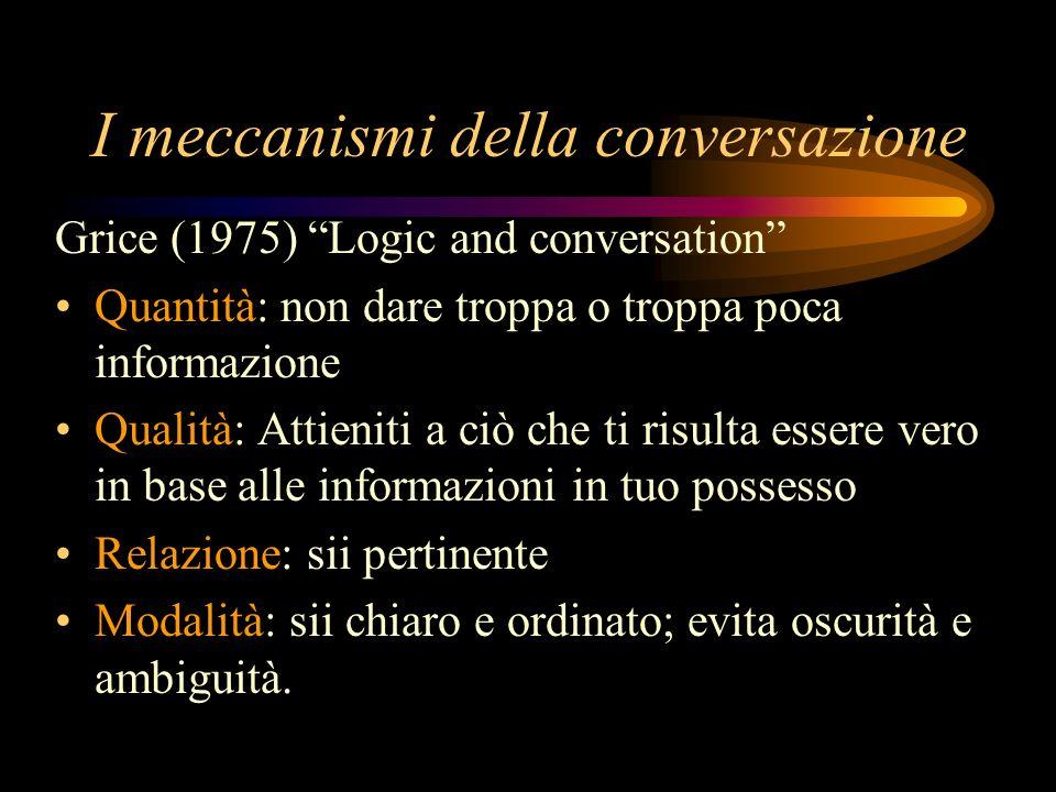 I meccanismi della conversazione Grice (1975) Logic and conversation Quantità: non dare troppa o troppa poca informazione Qualità: Attieniti a ciò che