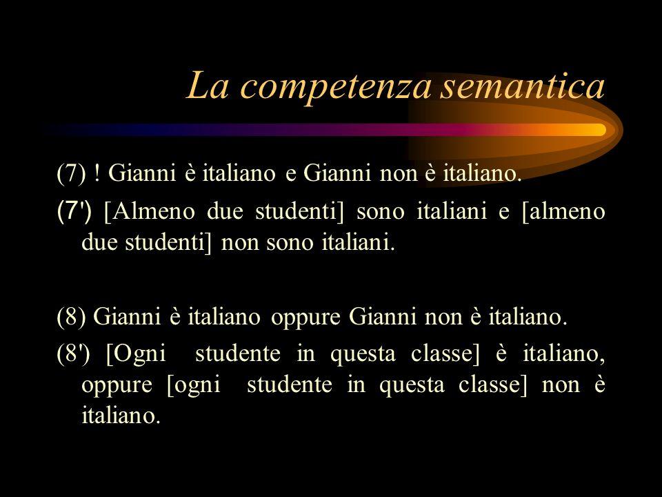 La competenza semantica (7) ! Gianni è italiano e Gianni non è italiano. (7 ' ) [Almeno due studenti] sono italiani e [almeno due studenti] non sono i