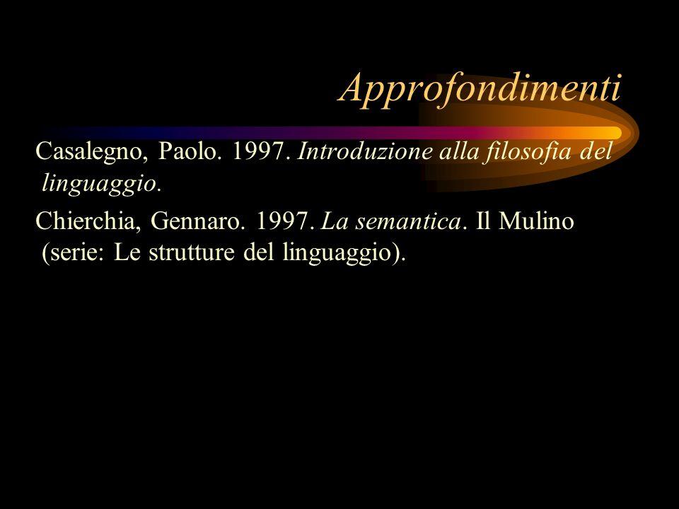 Approfondimenti Casalegno, Paolo. 1997. Introduzione alla filosofia del linguaggio. Chierchia, Gennaro. 1997. La semantica. Il Mulino (serie: Le strut