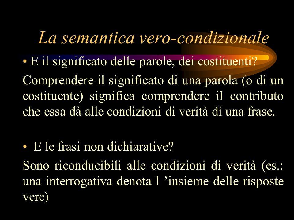 La semantica vero-condizionale E il significato delle parole, dei costituenti? Comprendere il significato di una parola (o di un costituente) signific