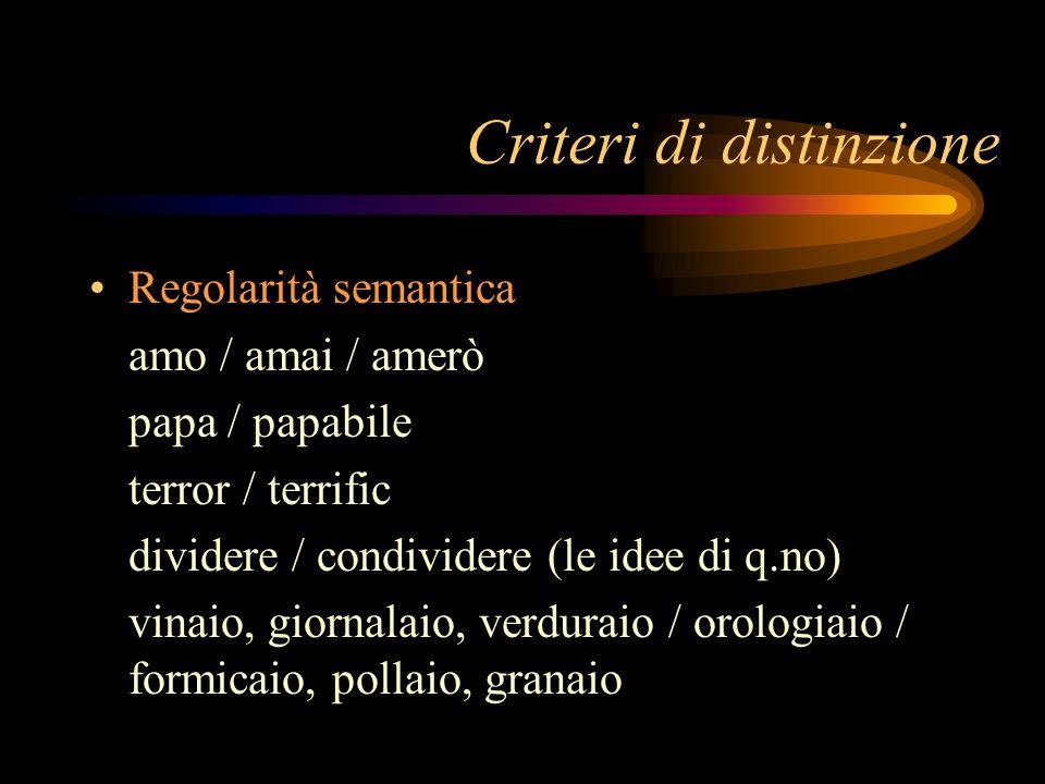 Regolarità semantica amo / amai / amerò papa / papabile terror / terrific dividere / condividere (le idee di q.no) vinaio, giornalaio, verduraio / oro