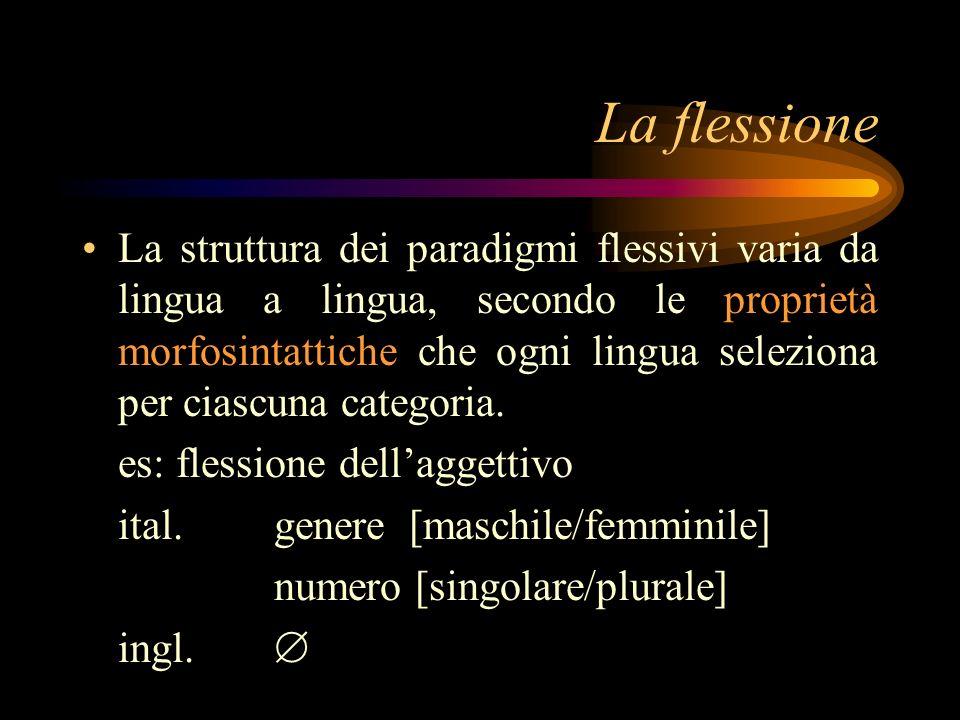 La flessione La struttura dei paradigmi flessivi varia da lingua a lingua, secondo le proprietà morfosintattiche che ogni lingua seleziona per ciascun