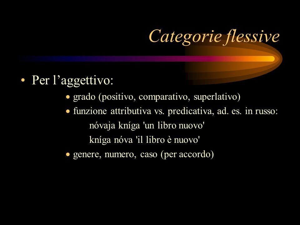Per laggettivo: grado (positivo, comparativo, superlativo) funzione attributiva vs. predicativa, ad. es. in russo: nóvaja kníga 'un libro nuovo' kníga