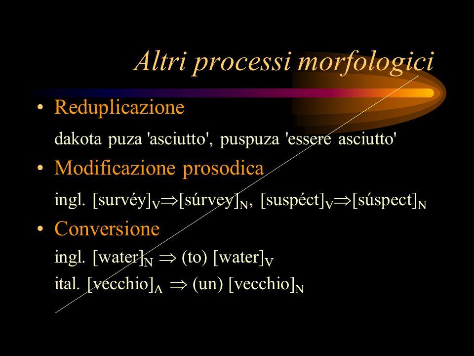 Altri processi morfologici Reduplicazione dakota puza 'asciutto', puspuza 'essere asciutto' Modificazione prosodica ingl. [survéy] V [súrvey] N, [susp