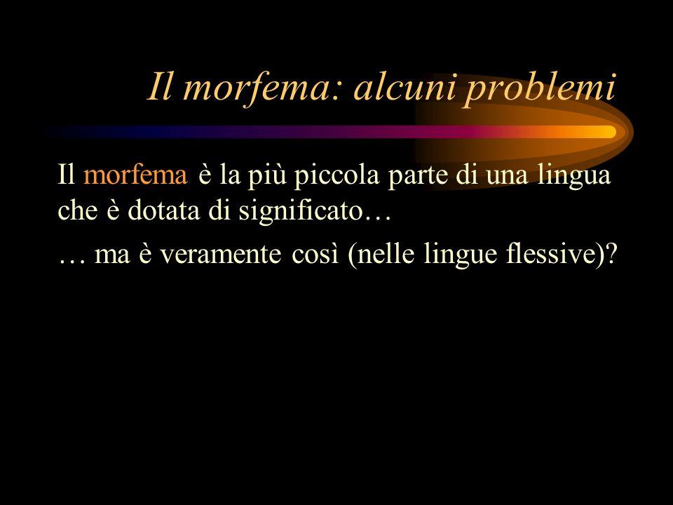 Il morfema: alcuni problemi Il morfema è la più piccola parte di una lingua che è dotata di significato… … ma è veramente così (nelle lingue flessive)