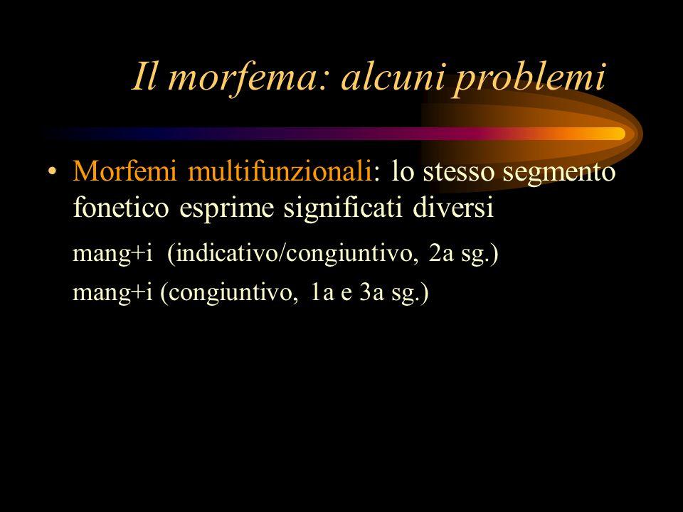 Morfemi multifunzionali: lo stesso segmento fonetico esprime significati diversi mang+i (indicativo/congiuntivo, 2a sg.) mang+i (congiuntivo, 1a e 3a