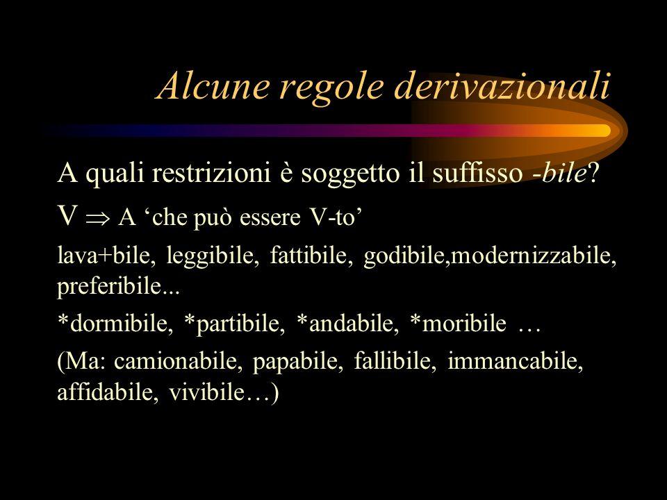 Alcune regole derivazionali A quali restrizioni è soggetto il suffisso -bile? V A che può essere V-to lava+bile, leggibile, fattibile, godibile,modern