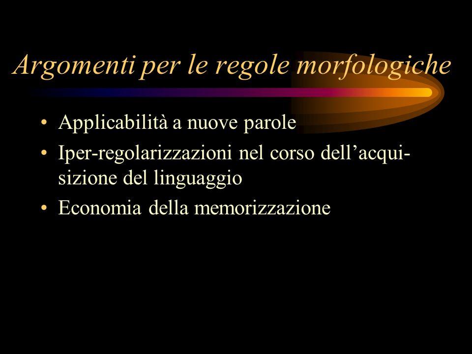 Argomenti per le regole morfologiche Applicabilità a nuove parole Iper-regolarizzazioni nel corso dellacqui- sizione del linguaggio Economia della mem
