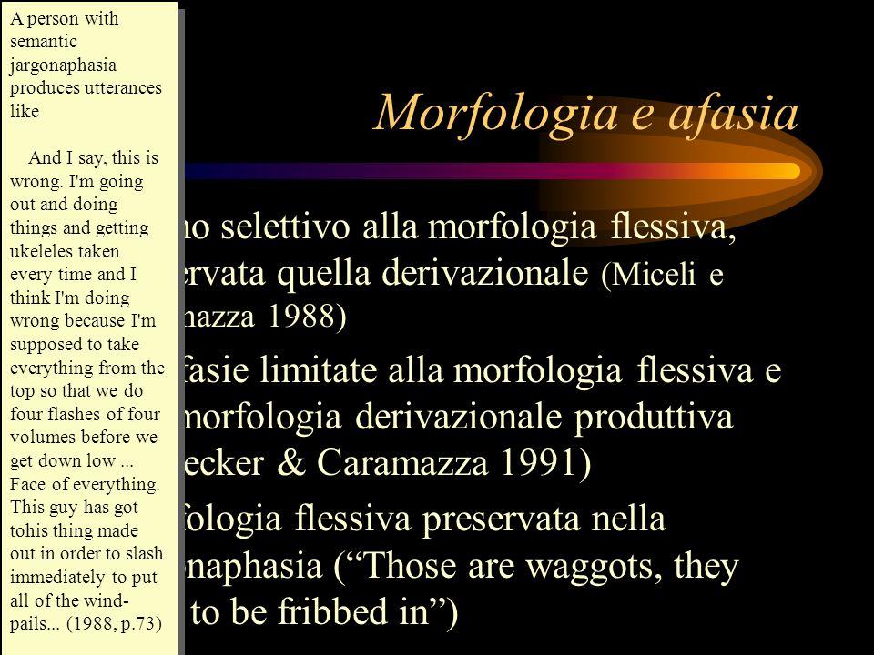 Morfologia e afasia Danno selettivo alla morfologia flessiva, preservata quella derivazionale (Miceli e Caramazza 1988) Parafasie limitate alla morfol