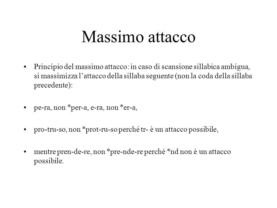 Massimo attacco Principio del massimo attacco: in caso di scansione sillabica ambigua, si massimizza lattacco della sillaba seguente (non la coda della sillaba precedente): pe-ra, non *per-a, e-ra, non *er-a, pro-tru-so, non *prot-ru-so perché tr- è un attacco possibile, mentre pren-de-re, non *pre-nde-re perché *nd non è un attacco possibile.