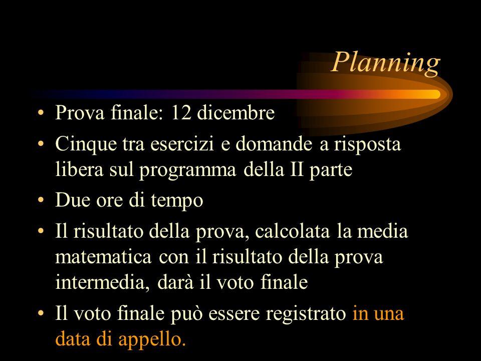 Planning Prova finale: 12 dicembre Cinque tra esercizi e domande a risposta libera sul programma della II parte Due ore di tempo Il risultato della pr