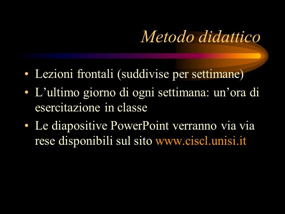 Metodo didattico Lezioni frontali (suddivise per settimane) Lultimo giorno di ogni settimana: unora di esercitazione in classe Le diapositive PowerPoi