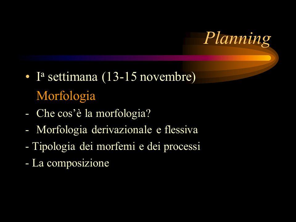 Planning I a settimana (13-15 novembre) Morfologia -Che cosè la morfologia? -Morfologia derivazionale e flessiva - Tipologia dei morfemi e dei process
