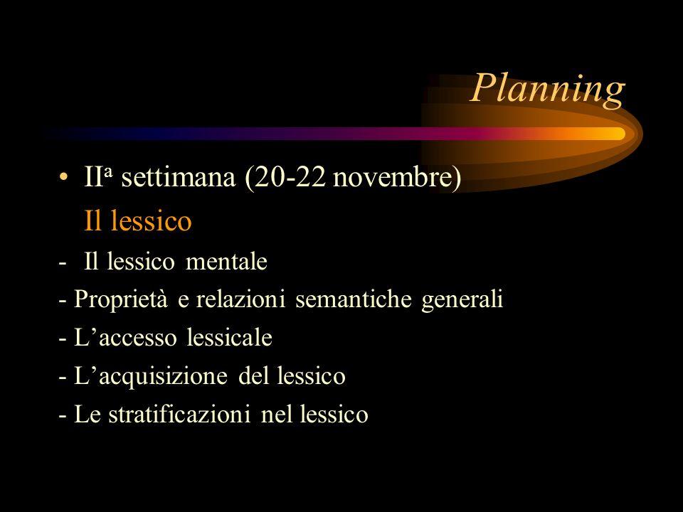 Planning II a settimana (20-22 novembre) Il lessico -Il lessico mentale - Proprietà e relazioni semantiche generali - Laccesso lessicale - Lacquisizio