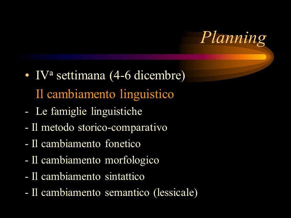 Planning IV a settimana (4-6 dicembre) Il cambiamento linguistico -Le famiglie linguistiche - Il metodo storico-comparativo - Il cambiamento fonetico