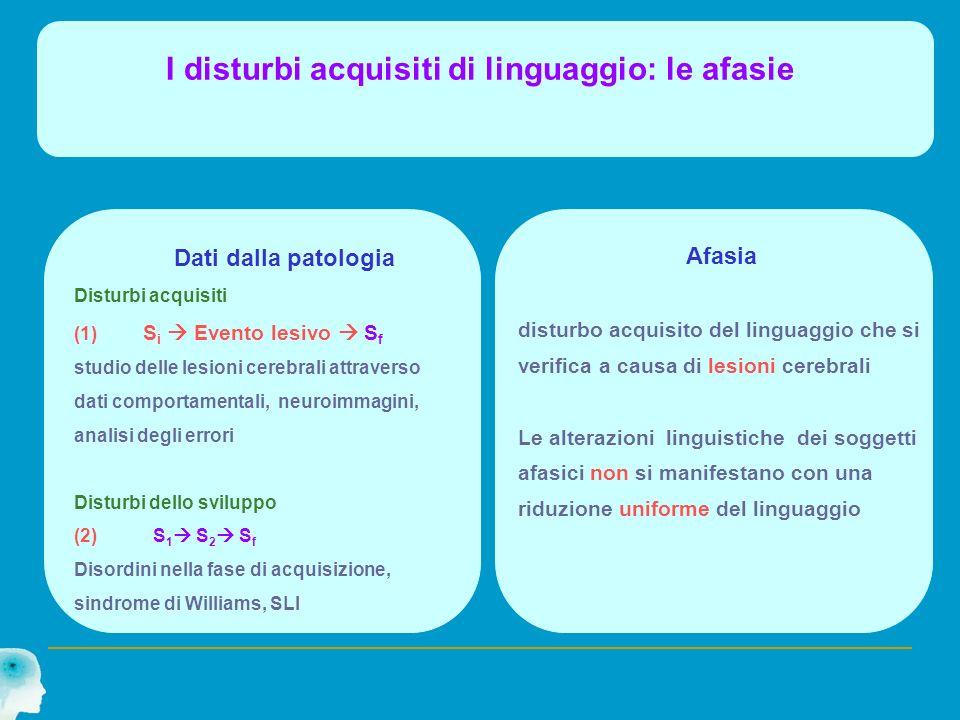 I disturbi acquisiti di linguaggio: le afasie Dati dalla patologia Disturbi acquisiti (1) S i Evento lesivo S f studio delle lesioni cerebrali attrave