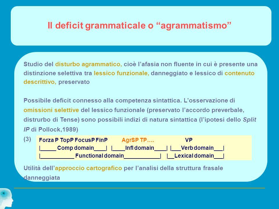 Il deficit grammaticale o agrammatismo Studio del disturbo agrammatico, cioè lafasia non fluente in cui è presente una distinzione selettiva tra lessi