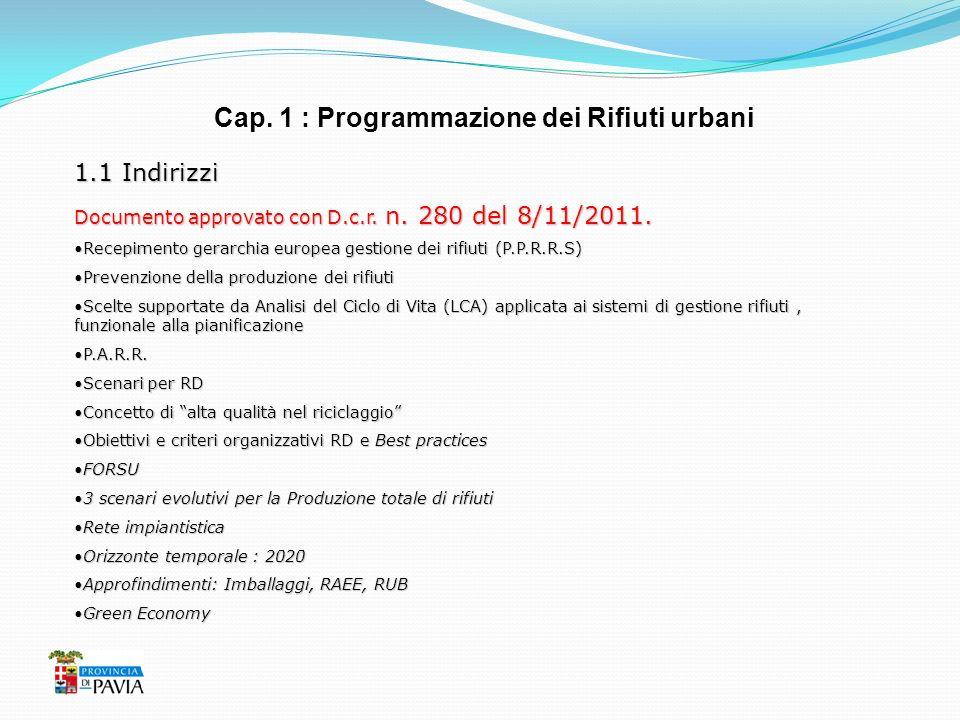 Cap. 1 : Programmazione dei Rifiuti urbani 1.1 Indirizzi Documento approvato con D.c.r. n. 280 del 8/11/2011. Recepimento gerarchia europea gestione d