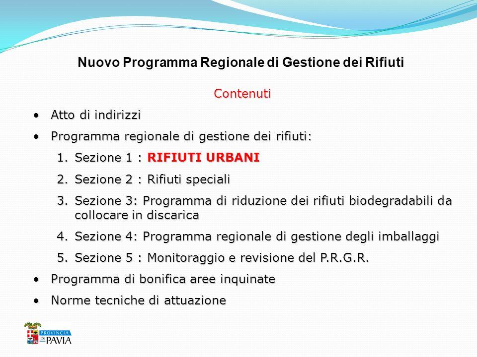 Nuovo Programma Regionale di Gestione dei Rifiuti Contenuti Atto di indirizziAtto di indirizzi Programma regionale di gestione dei rifiuti:Programma r