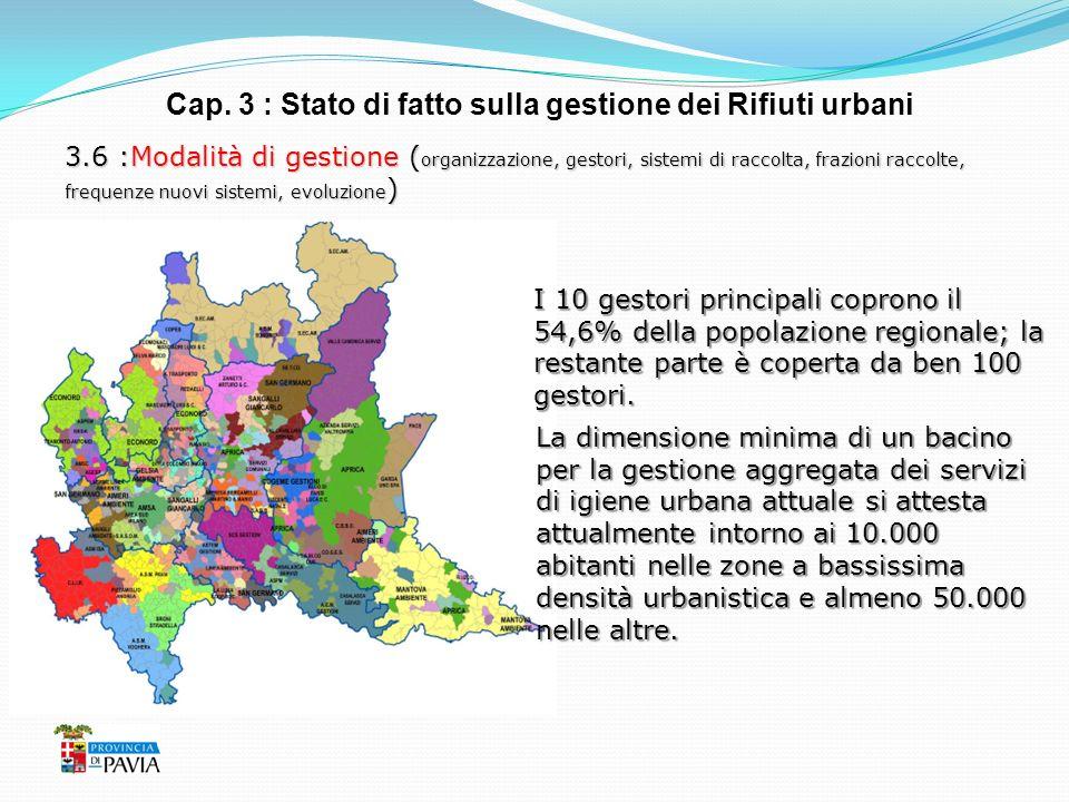 Cap. 3 : Stato di fatto sulla gestione dei Rifiuti urbani 3.6 :Modalità di gestione ( organizzazione, gestori, sistemi di raccolta, frazioni raccolte,