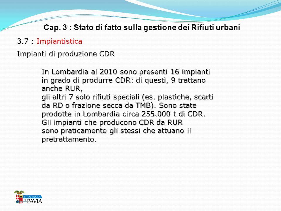 Cap. 3 : Stato di fatto sulla gestione dei Rifiuti urbani 3.7 : Impiantistica Impianti di produzione CDR In Lombardia al 2010 sono presenti 16 impiant