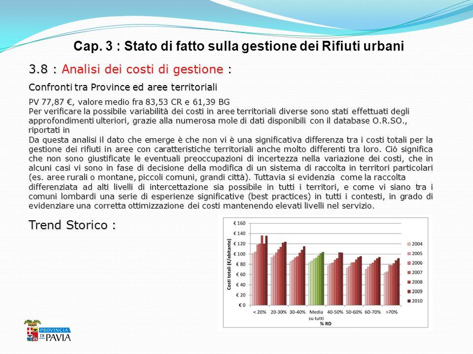 Cap. 3 : Stato di fatto sulla gestione dei Rifiuti urbani 3.8 : Analisi dei costi di gestione : Confronti tra Province ed aree territoriali PV 77,87,