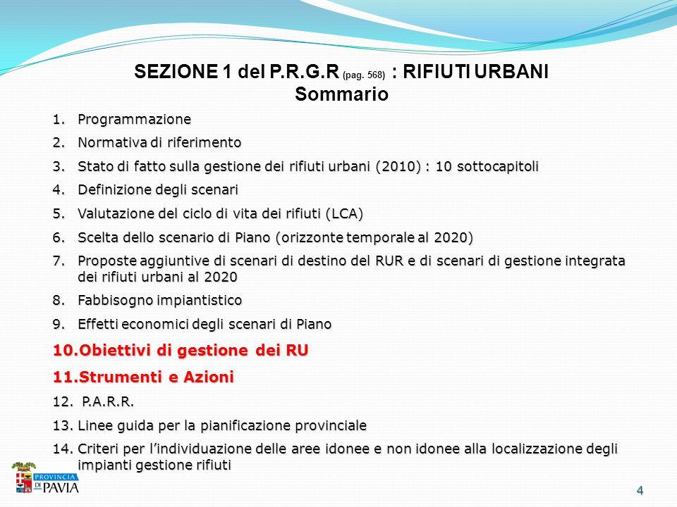 4 SEZIONE 1 del P.R.G.R (pag. 568) : RIFIUTI URBANI Sommario 1.Programmazione 2.Normativa di riferimento 3.Stato di fatto sulla gestione dei rifiuti u