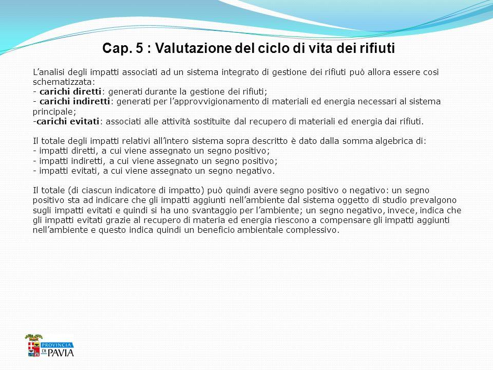 Cap. 5 : Valutazione del ciclo di vita dei rifiuti Lanalisi degli impatti associati ad un sistema integrato di gestione dei rifiuti può allora essere