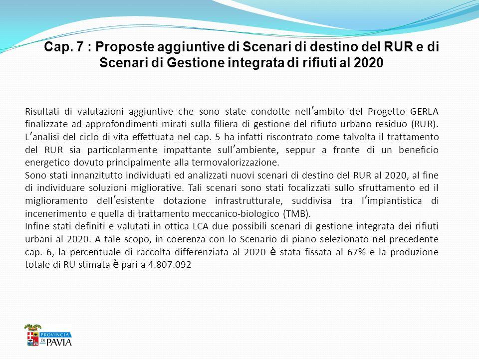 Cap. 7 : Proposte aggiuntive di Scenari di destino del RUR e di Scenari di Gestione integrata di rifiuti al 2020 Risultati di valutazioni aggiuntive c