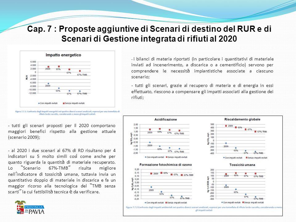 Cap. 7 : Proposte aggiuntive di Scenari di destino del RUR e di Scenari di Gestione integrata di rifiuti al 2020 - i bilanci di materia riportati (in