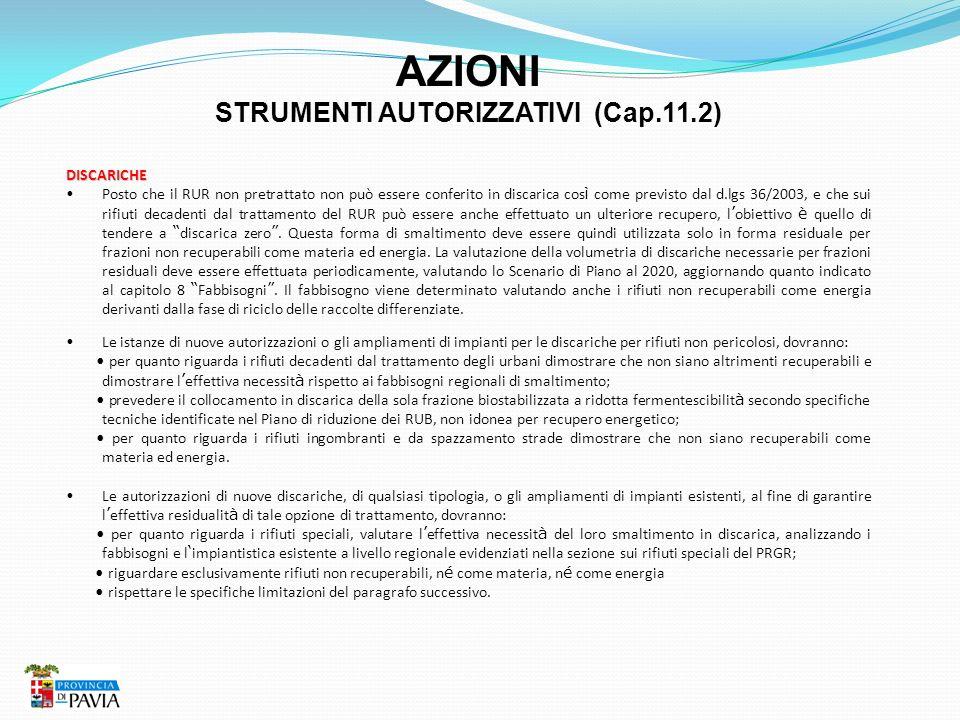 AZIONI STRUMENTI AUTORIZZATIVI (Cap.11.2) DISCARICHE Posto che il RUR non pretrattato non può essere conferito in discarica cos ì come previsto dal d.