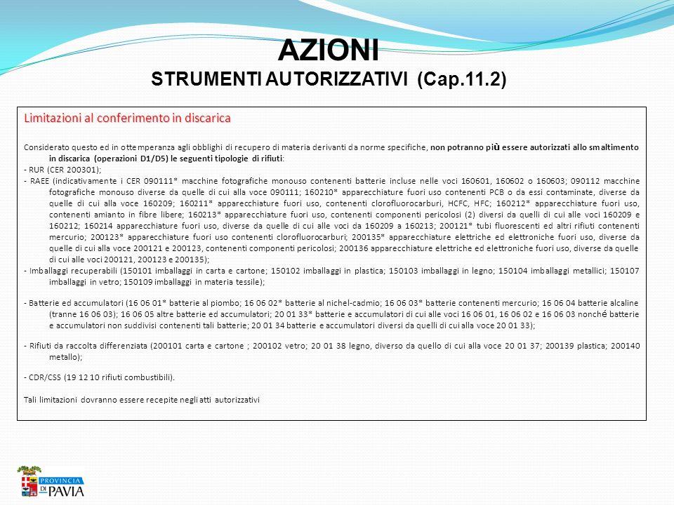 AZIONI STRUMENTI AUTORIZZATIVI (Cap.11.2) Limitazioni al conferimento in discarica Considerato questo ed in ottemperanza agli obblighi di recupero di