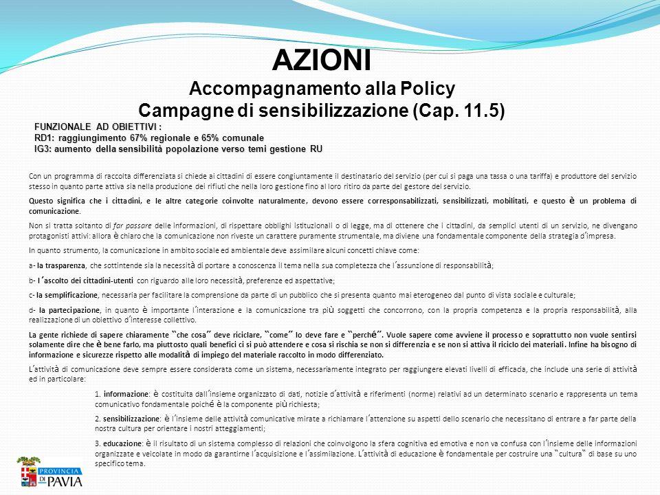 AZIONI Accompagnamento alla Policy Campagne di sensibilizzazione (Cap. 11.5) FUNZIONALE AD OBIETTIVI : RD1: raggiungimento 67% regionale e 65% comunal
