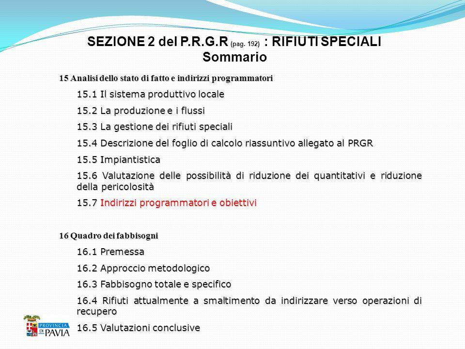 SEZIONE 2 del P.R.G.R (pag. 192) : RIFIUTI SPECIALI Sommario 15 Analisi dello stato di fatto e indirizzi programmatori 15.1 Il sistema produttivo loca
