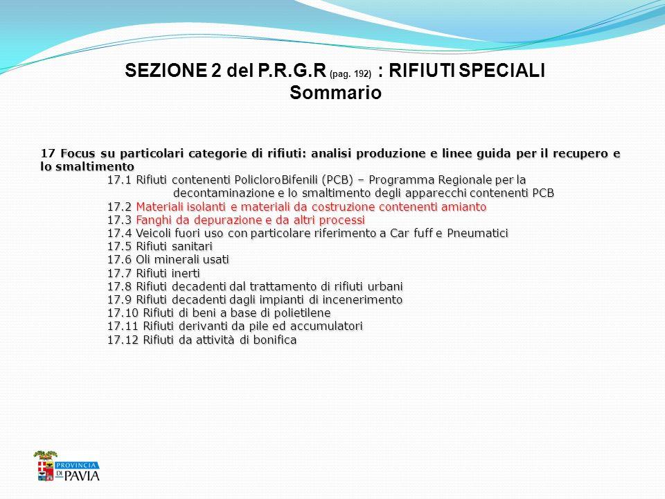 SEZIONE 2 del P.R.G.R (pag. 192) : RIFIUTI SPECIALI Sommario Focus su particolari categorie di rifiuti: analisi produzione e linee guida per il recupe