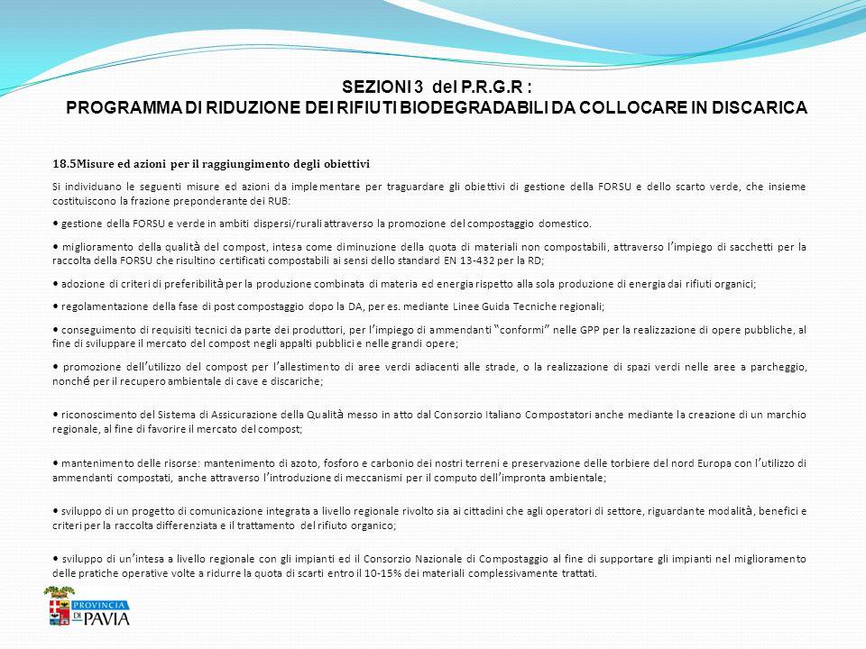 SEZIONI 3 del P.R.G.R : PROGRAMMA DI RIDUZIONE DEI RIFIUTI BIODEGRADABILI DA COLLOCARE IN DISCARICA 18.5Misure ed azioni per il raggiungimento degli o