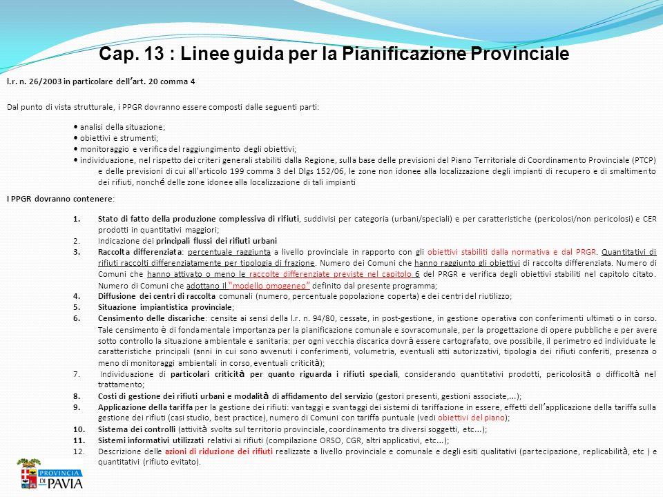 Cap. 13 : Linee guida per la Pianificazione Provinciale l.r. n. 26/2003 in particolare dell art. 20 comma 4 Dal punto di vista strutturale, i PPGR dov
