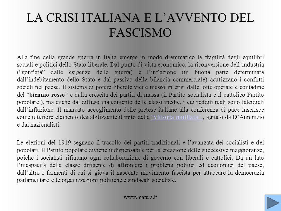 www.matura.it LA CRISI ITALIANA E LAVVENTO DEL FASCISMO Alla fine della grande guerra in Italia emerge in modo drammatico la fragilità degli equilibri