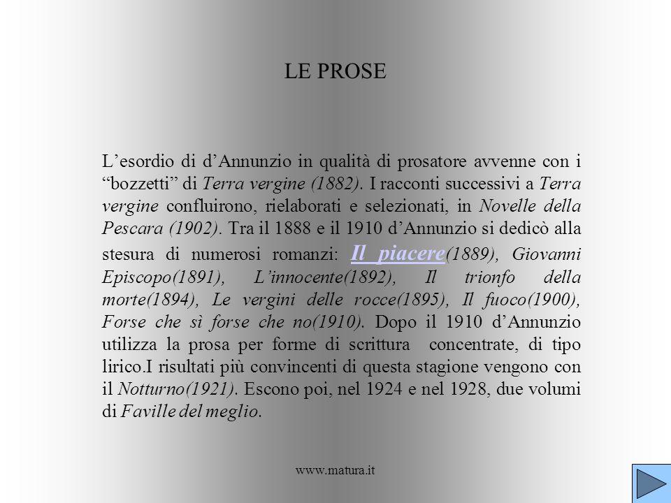 www.matura.it LE PROSE Lesordio di dAnnunzio in qualità di prosatore avvenne con i bozzetti di Terra vergine (1882). I racconti successivi a Terra ver