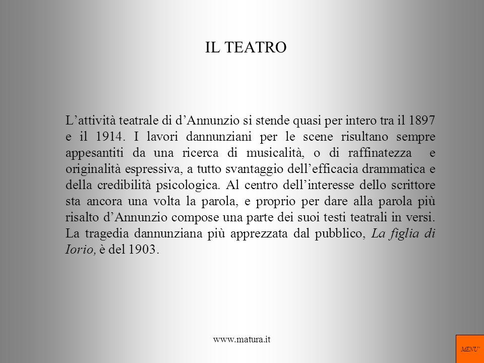 www.matura.it IL TEATRO Lattività teatrale di dAnnunzio si stende quasi per intero tra il 1897 e il 1914. I lavori dannunziani per le scene risultano
