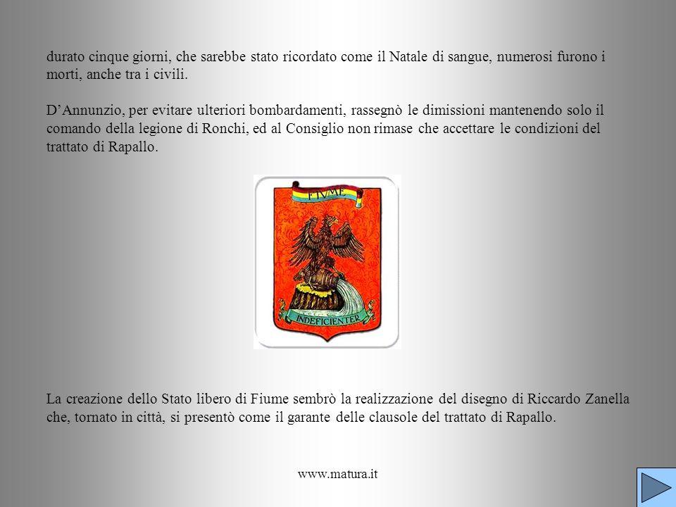 www.matura.it durato cinque giorni, che sarebbe stato ricordato come il Natale di sangue, numerosi furono i morti, anche tra i civili. DAnnunzio, per