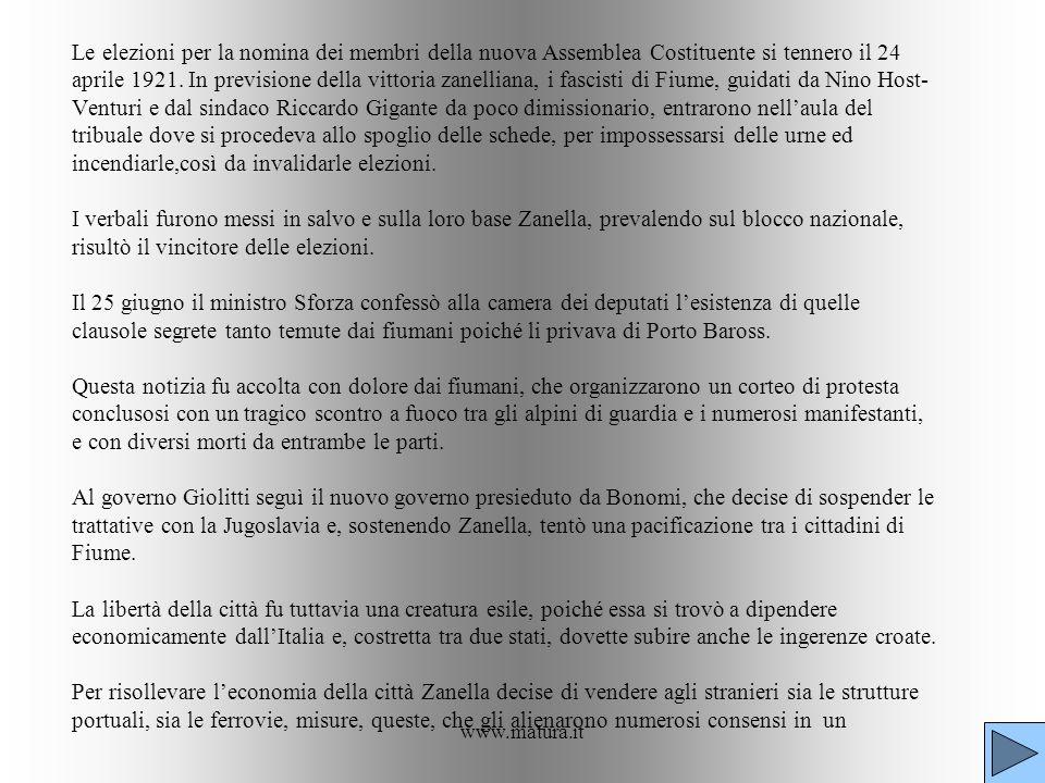 www.matura.it Le elezioni per la nomina dei membri della nuova Assemblea Costituente si tennero il 24 aprile 1921. In previsione della vittoria zanell