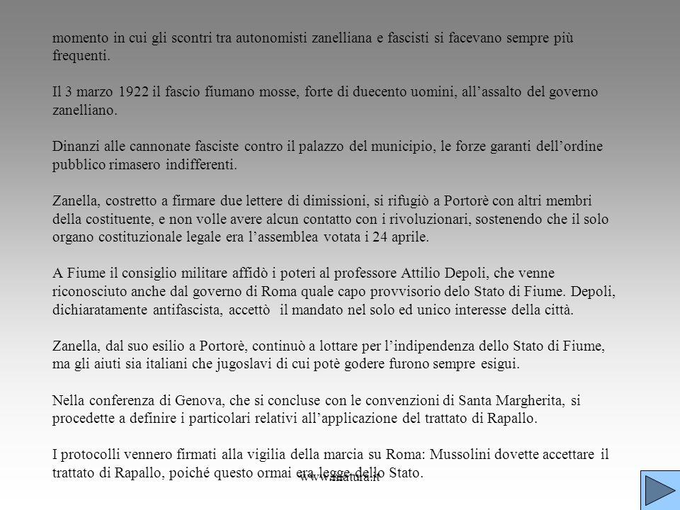 www.matura.it momento in cui gli scontri tra autonomisti zanelliana e fascisti si facevano sempre più frequenti. Il 3 marzo 1922 il fascio fiumano mos