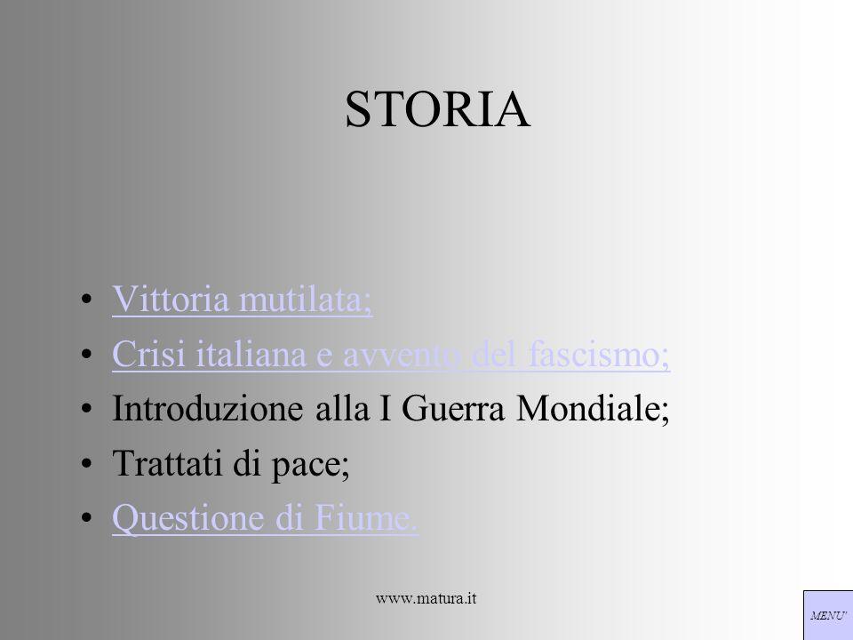 www.matura.it STORIA Vittoria mutilata; Crisi italiana e avvento del fascismo; Introduzione alla I Guerra Mondiale; Trattati di pace; Questione di Fiu
