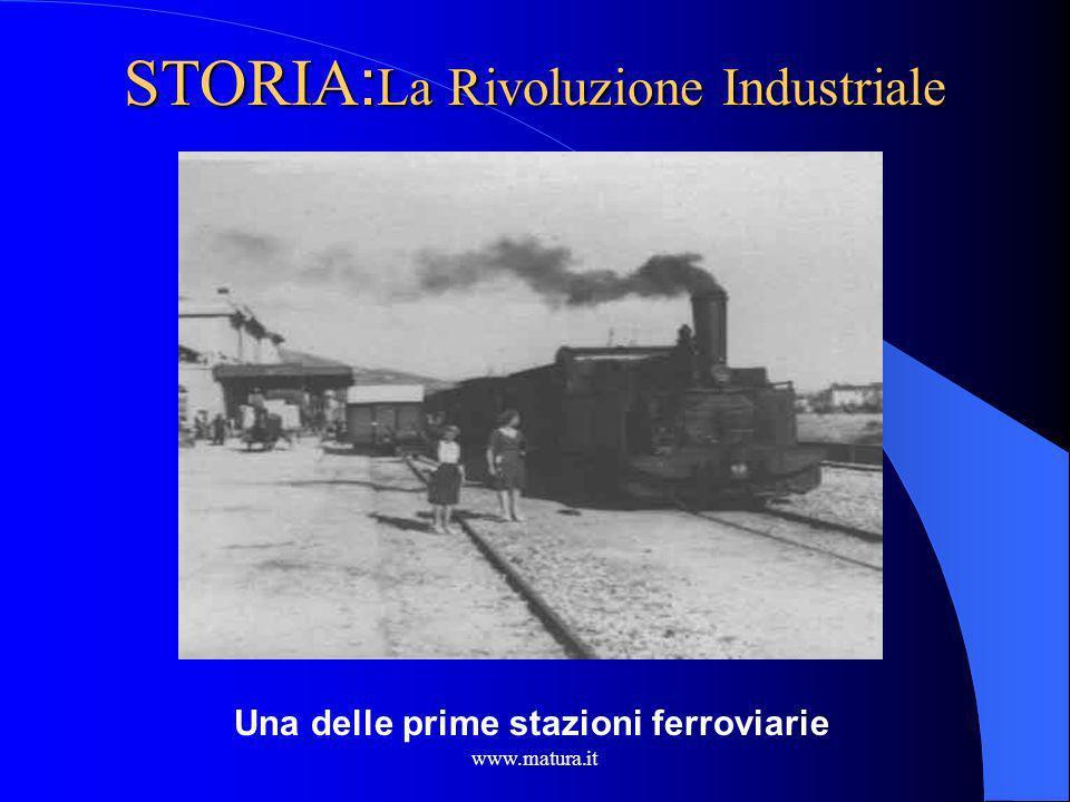 www.matura.it STORIA : La Rivoluzione Industriale Inghilterra protagonista con la costruzione di una rete nazionale di ferrovie. La ferrovia e la macc