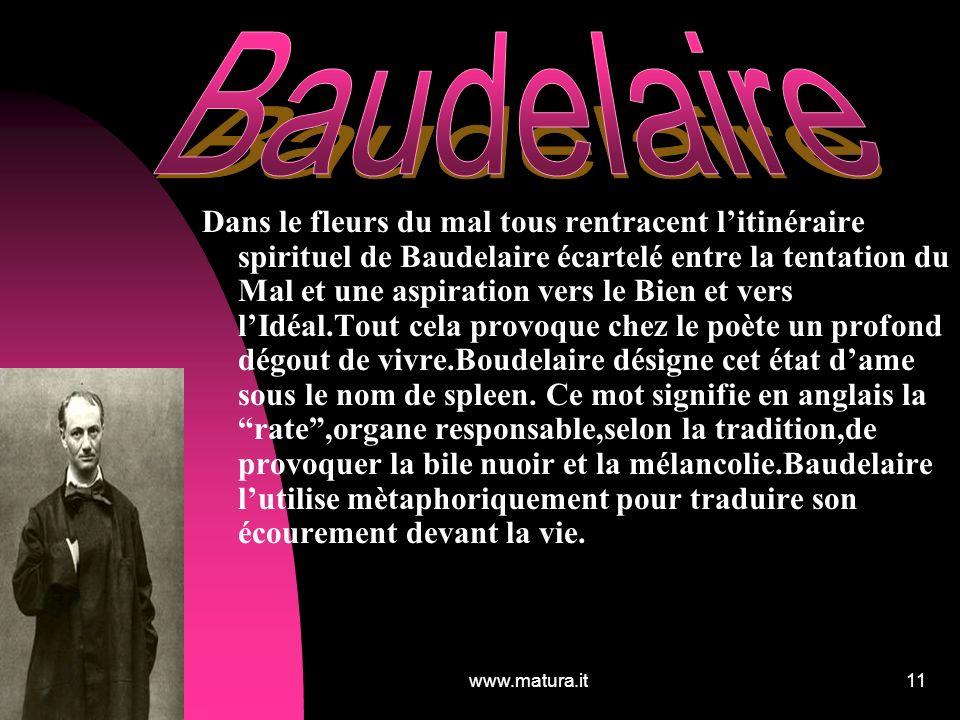 www.matura.it11 Dans le fleurs du mal tous rentracent litinéraire spirituel de Baudelaire écartelé entre la tentation du Mal et une aspiration vers le