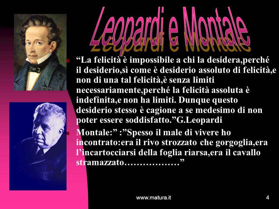 www.matura.it4 La felicità è impossibile a chi la desidera,perché il desiderio,sì come è desiderio assoluto di felicità,e non di una tal felicità,è se