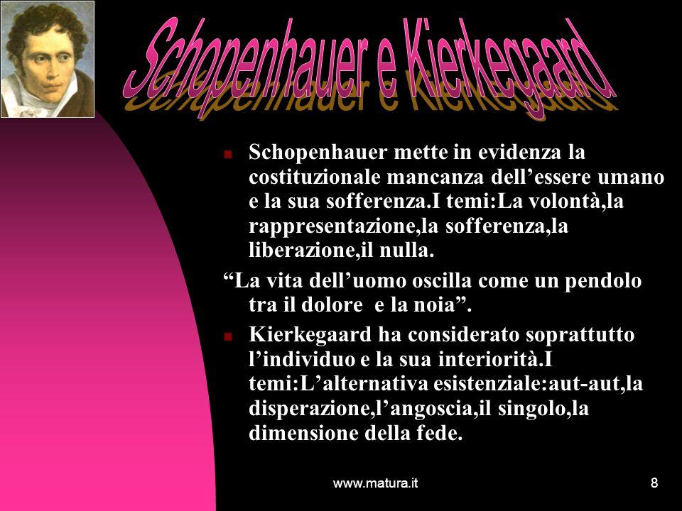 www.matura.it8 Schopenhauer mette in evidenza la costituzionale mancanza dellessere umano e la sua sofferenza.I temi:La volontà,la rappresentazione,la