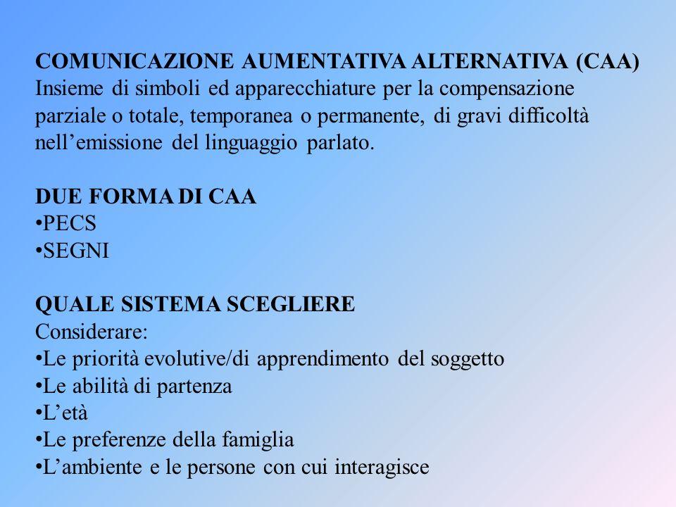 COMUNICAZIONE AUMENTATIVA ALTERNATIVA (CAA) Insieme di simboli ed apparecchiature per la compensazione parziale o totale, temporanea o permanente, di
